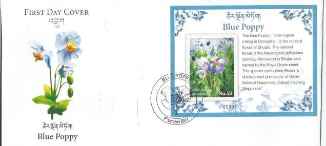 BHUTAN BLUE POPPY FDC
