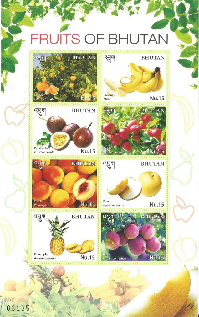 BHUTAN FRUITS MINIATURE SHEET