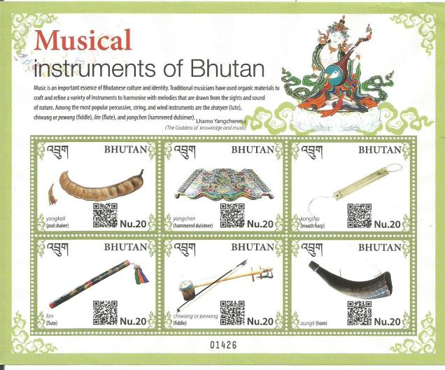 MUSICAL INSTRUMENTS BHUTAN SHEETLET