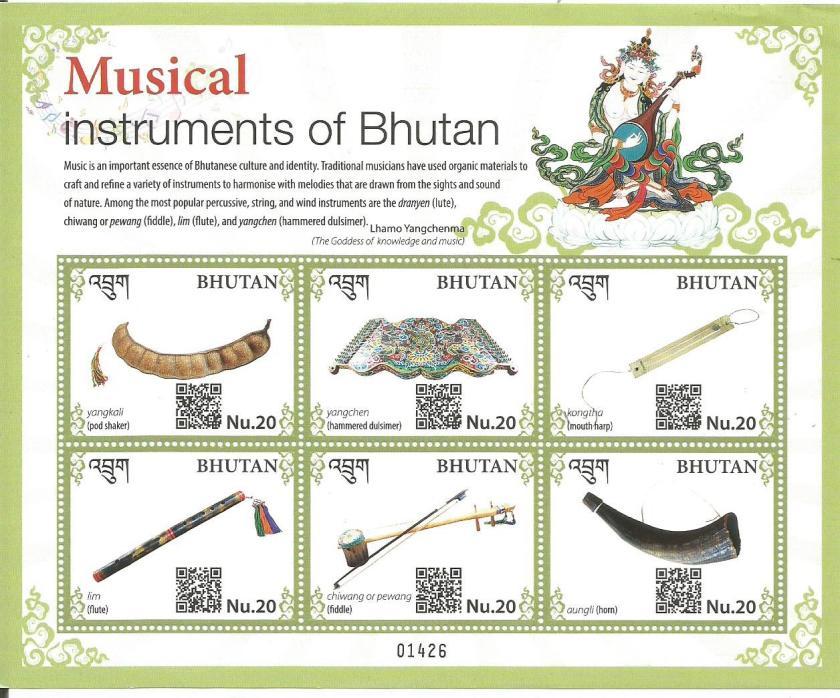 MUSICAL INSTRUMENTS BHUTAN SHEETLET