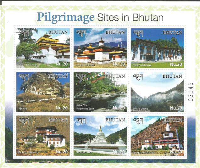 PILGRIMAGE SITES IN BHUTAN  MINIATURE SHEET