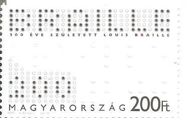 STAMP ON LOUIS BRAILLE -HUNGARY 2009