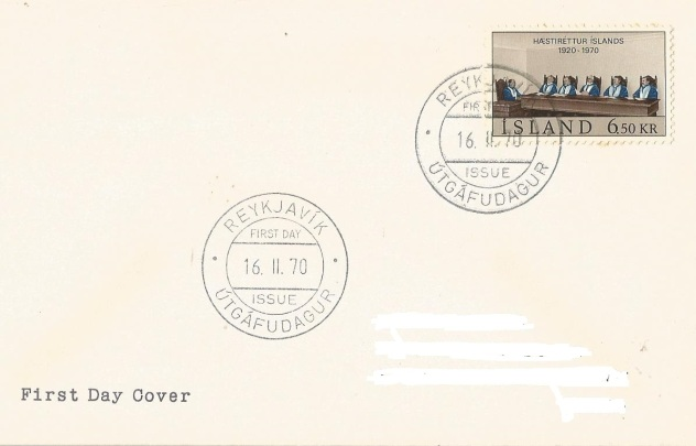 FIRST DAY COVER ICELAND SUPREME COURT -1970