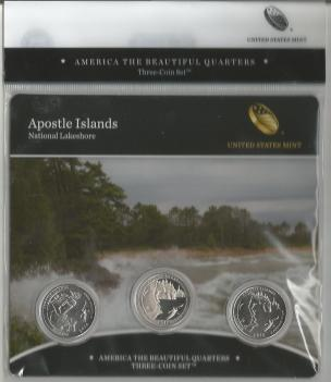 APOSTLE ISLANDS WISCONSIN -NATIONAL PARKS QUARTER COIN SERIES 2018- THREE COIN SET