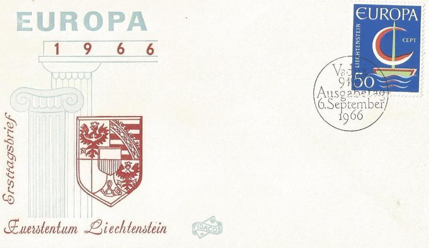 FDC LIECHTENSTEIN EUROPA 1966