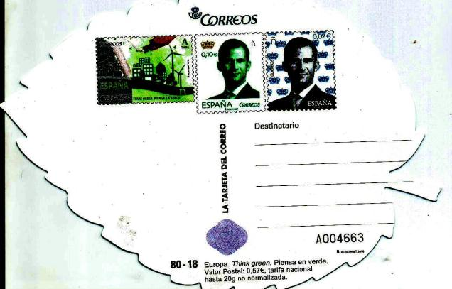 POST CARD SPAIN EUROPA THINK GREEN