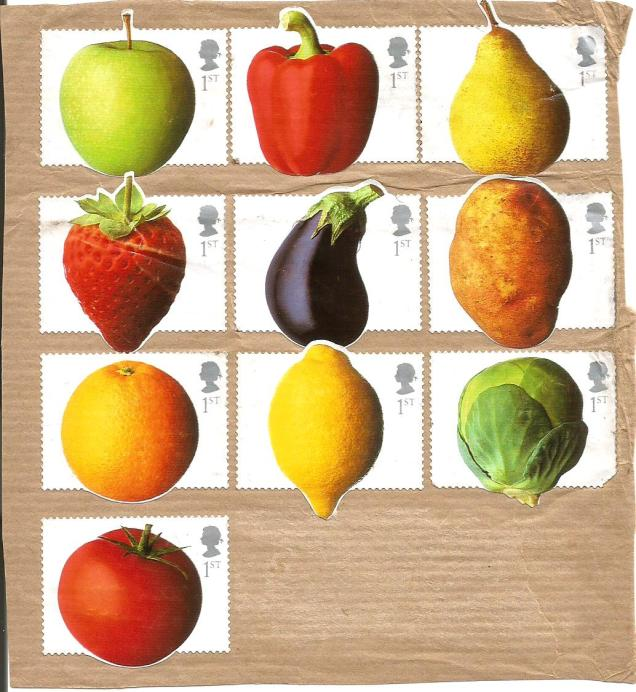 GB ODD SHAPE FRUITS STAMPS
