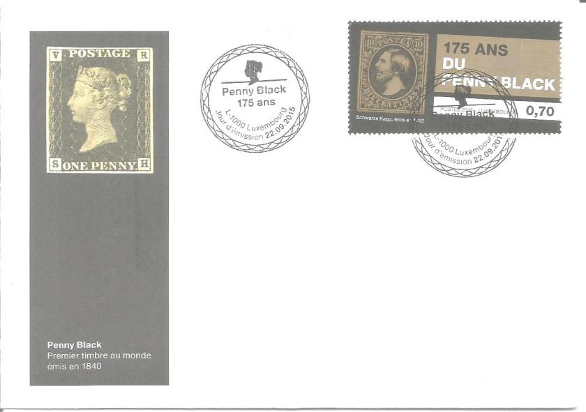 FDC LUXEMBOURG PENNY BLACK 175