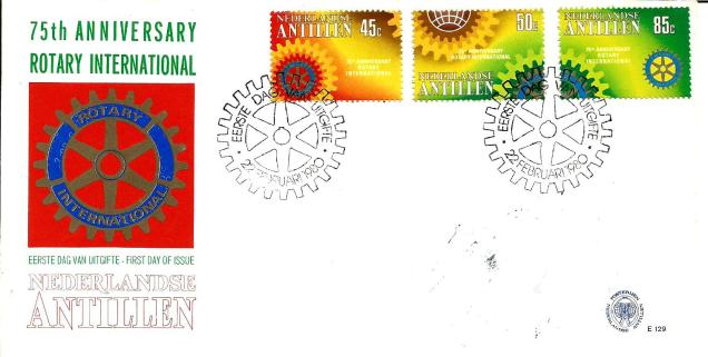 FDC NETH ANTILLES ROTARY 75 YEARS