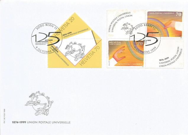 FDC SWITZERLAND UPU 125 YEARS