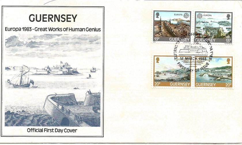 FDC GUERNSEY EUROPA 1983 -INVENTIONS -ST PETER PORT