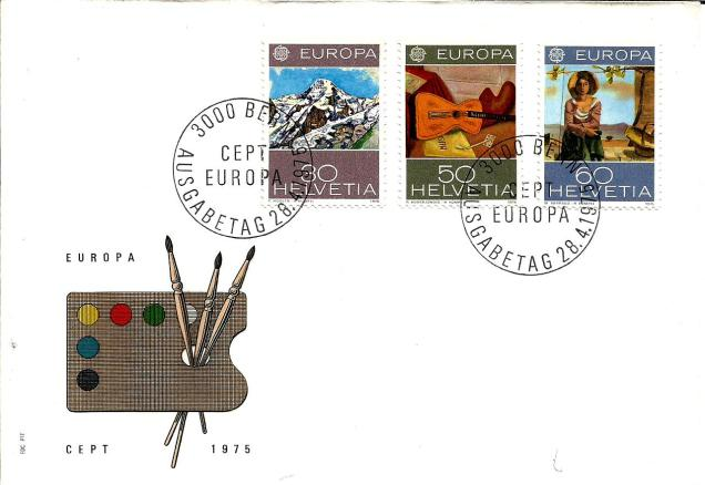 FDC SWITZERLAND EUROPA 1975
