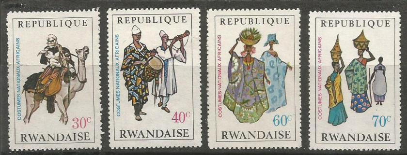 AFRICAN  COSTUMES ON RWANDA STAMPS 1968