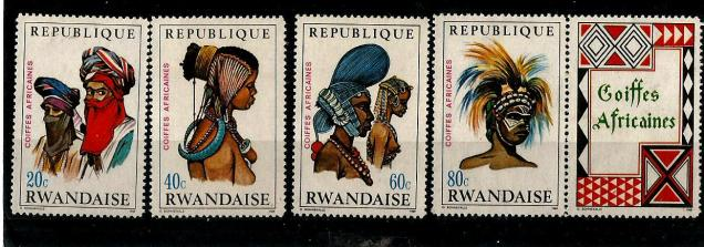 AFRICAN HEADDRESSES ON RWANDA STAMPS 1969