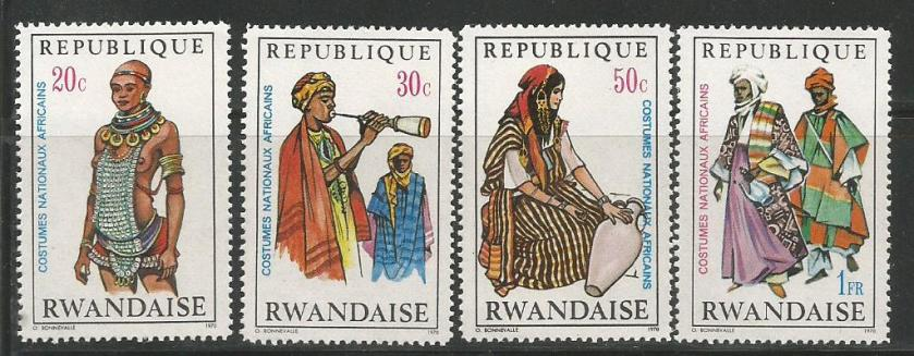 AFRICAN NATIONAL COSTUMES ON STAMPS OF RWANDA 1970