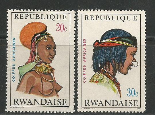 AFRICAN HEADDRESSES ON RWANDA STAMPS 1971