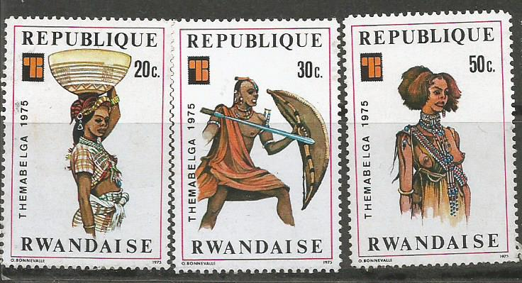 AFRICAN COSTUMES ON RWANDA STAMPS 1975