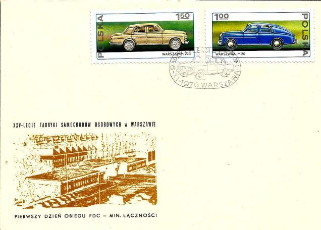 FDC POLAND CARS 1976