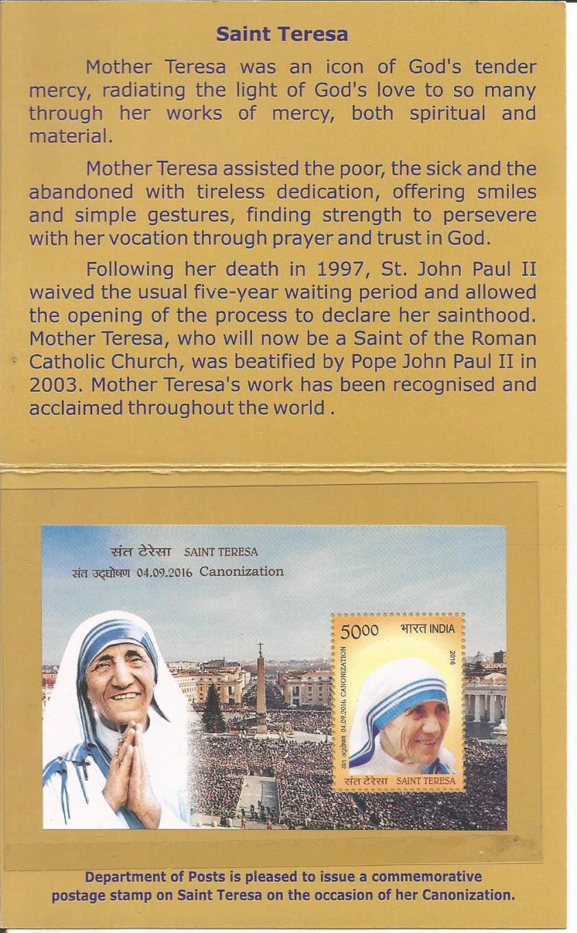 mother teresa booklet stamps