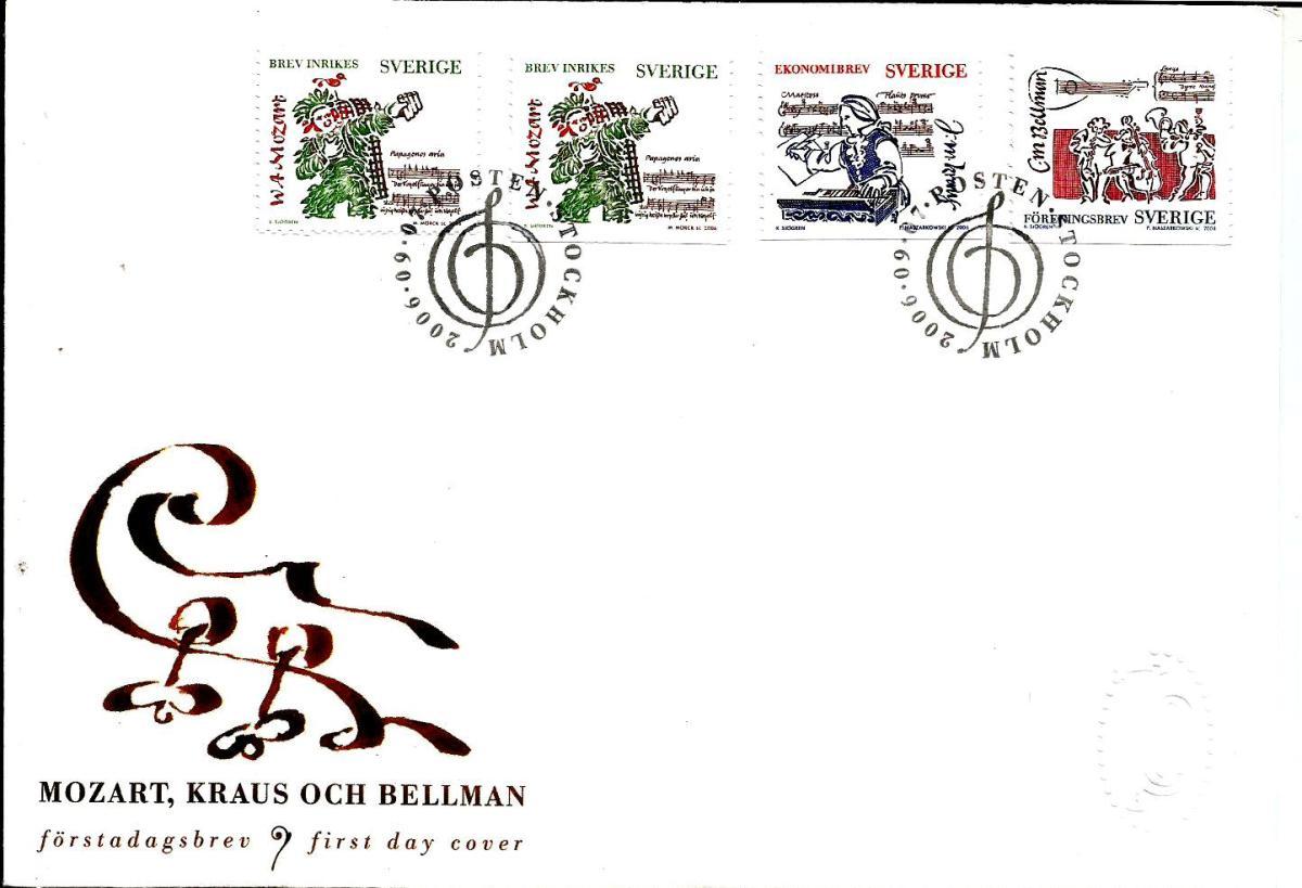 Stamps on Mozart -Sweden2006