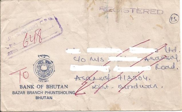 BHUTAN REGD CVR PLING