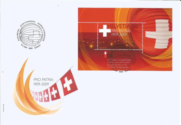SWITZERLAND FDC MS PRO PATRIA 2009