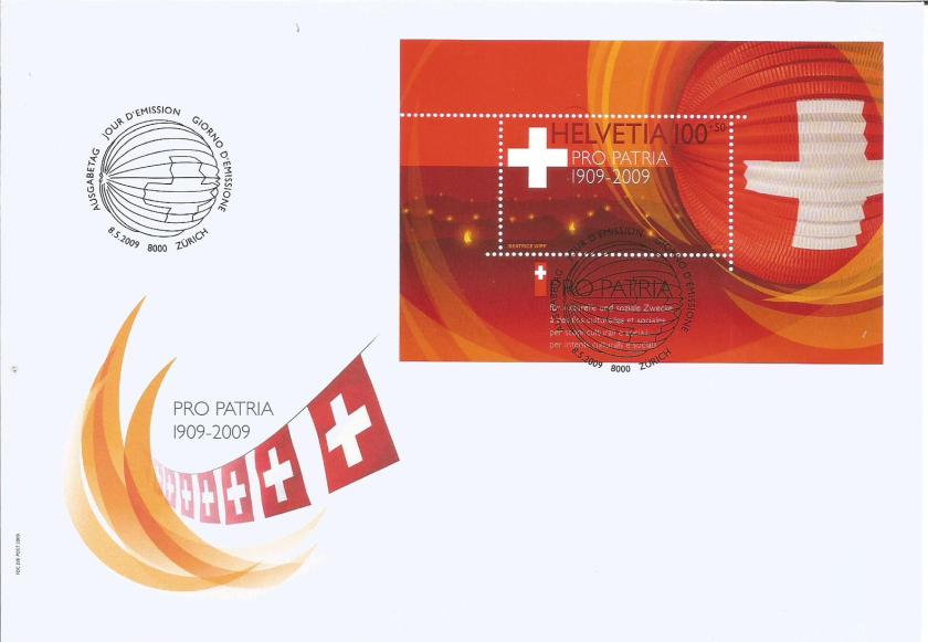 SWITZERLAND FDC MS PRO PATRIA 2009