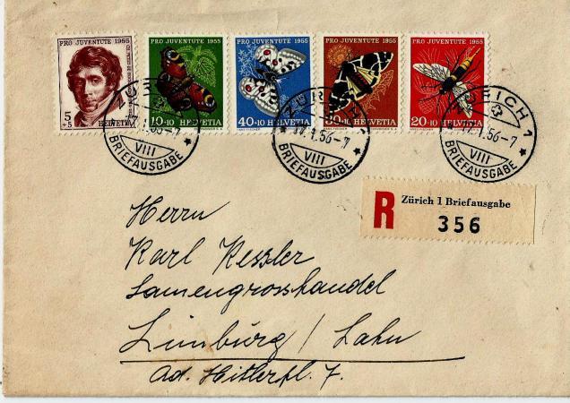 SWITZERLAND PRO JUVENTUTE REGD 1956