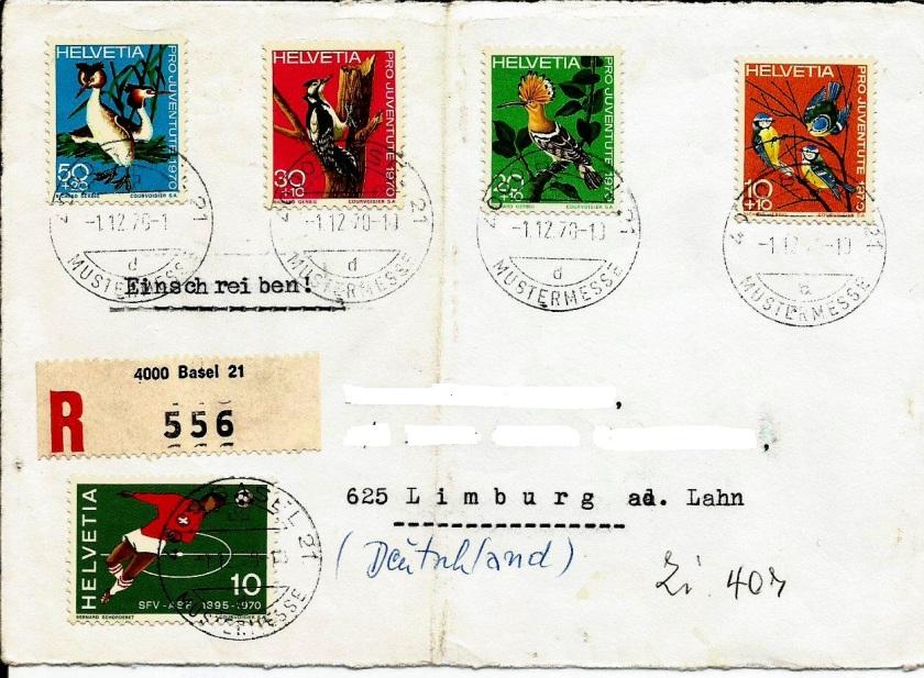 SWITZERLAND PRO JUVENTUTE REGD 1970