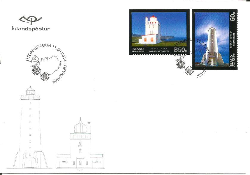 ICELAND FDC 2014 LIGHTHOUSES