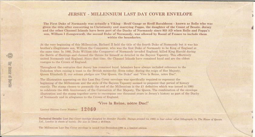 JERSEY LAST DAY MILLENIUM COVER BACK
