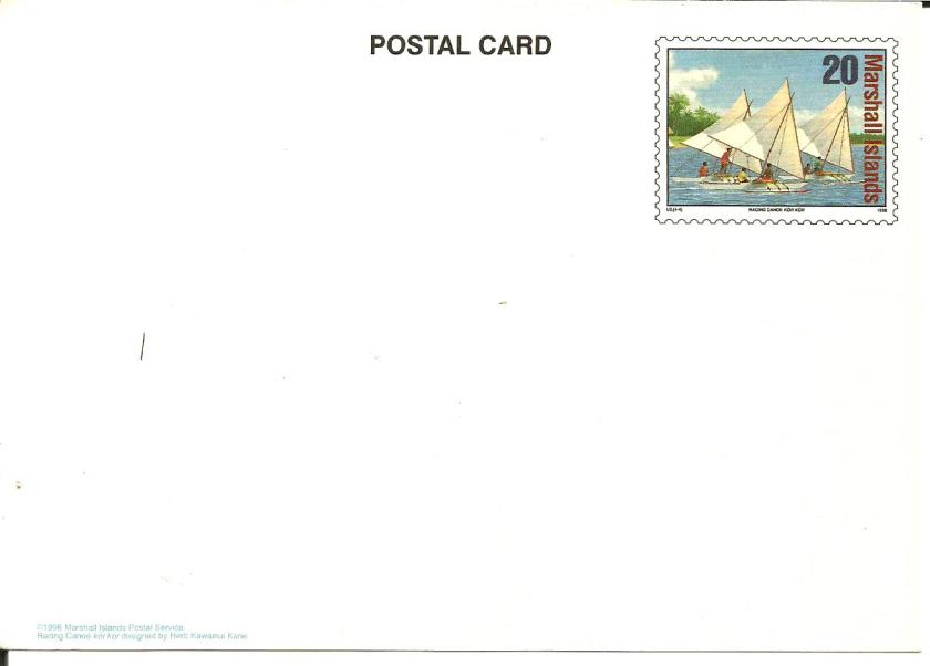 MARSHALL ISLANDS POST CARD 1996-CANOE RACE KOR KOR