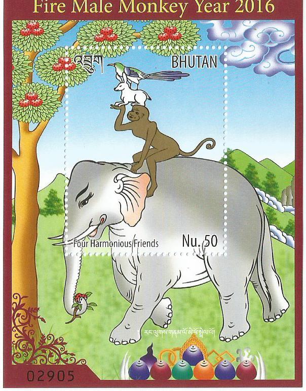 BHUTAN MS MONKEY YR 1V