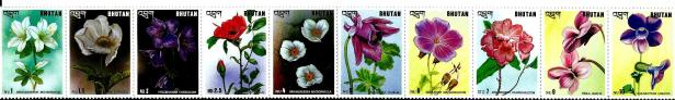 BHUTAN 10V FLOWERS