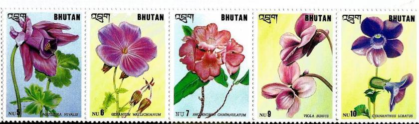 BHUTAN 5V FLOWERS2