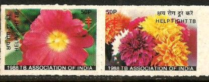 INDIA TB SEALS 1988-FLOWERS