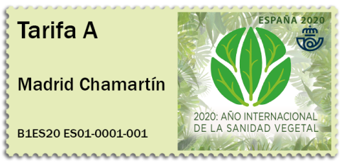 SPAIN 2020 -ATM LABELS -INTERNATIONAL YEAR OF PLANT HEALTH