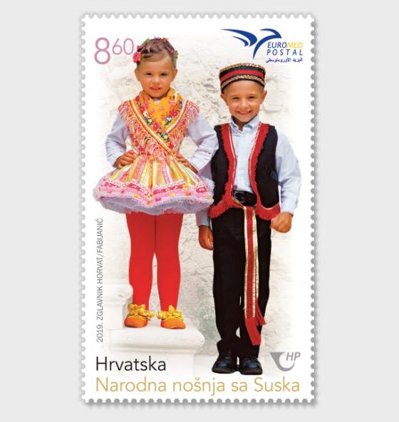 croatia costumes stamp